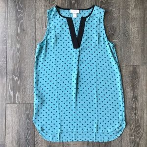LOFT Turquoise and Black Printed Tank Blouse